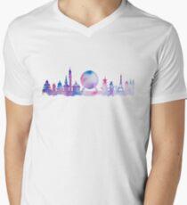 Orlando Future Theme Park Inspired Skyline Silhouette Men's V-Neck T-Shirt