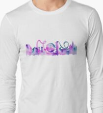 Orlando Theme Park Inspired Watercolor Skyline Silhouette Long Sleeve T-Shirt
