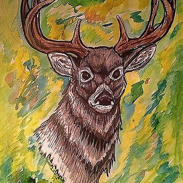 Watercolor Deer by FlannelDave