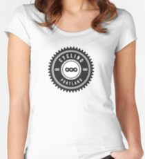 Cycling Portland Black & White Women's Fitted Scoop T-Shirt