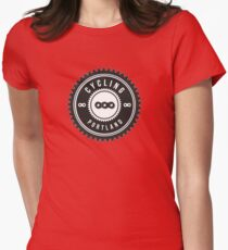 Cycling Portland Black & White Womens Fitted T-Shirt