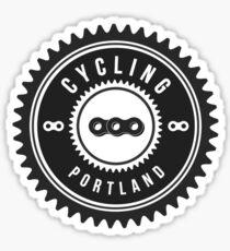 Cycling Portland Black & White Sticker