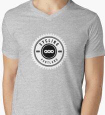 Cycling Portland White & Black Mens V-Neck T-Shirt