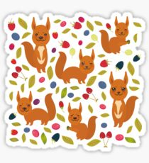 pattern with red squirrel Sticker