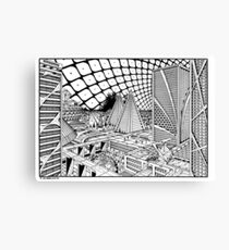 Line drawing, Future city. Canvas Print