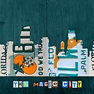 Miami Skyline License Plate Art by designturnpike
