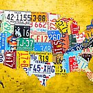 License Plate Map of the USA Car Tag Number Plate Art on Yellow by designturnpike