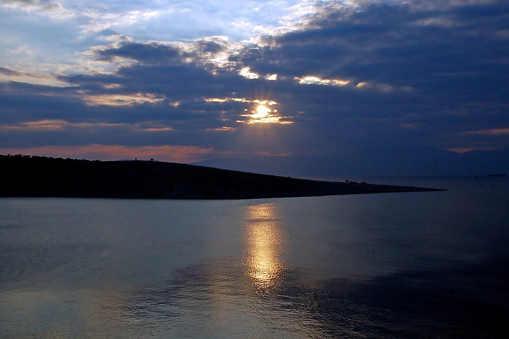 Sunset over island Krk - Croatia by Arie Koene