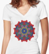 Abstract flower vector figure Women's Fitted V-Neck T-Shirt