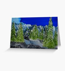 Snow Covered Trees in Rocky Mountain Pass Greeting Card