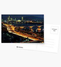 Night traffic over seoul Postcards