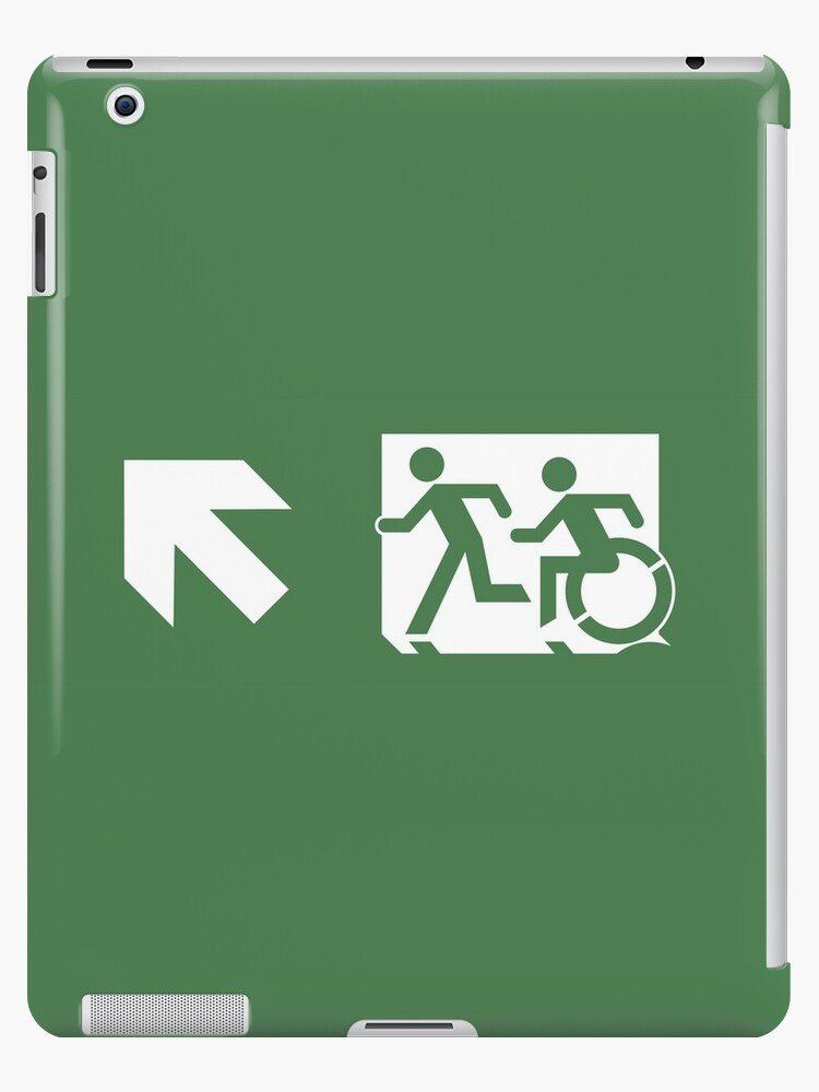 Accessible Means of Egress Icon and Running Man Emergency Exit Sign, Left Hand Diagonally Up Arrow by Egress Group Pty Ltd