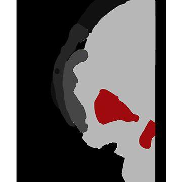 Skull with headphones by DemonKingGrim