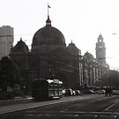 Flinders St Sunset by MichaelCouacaud