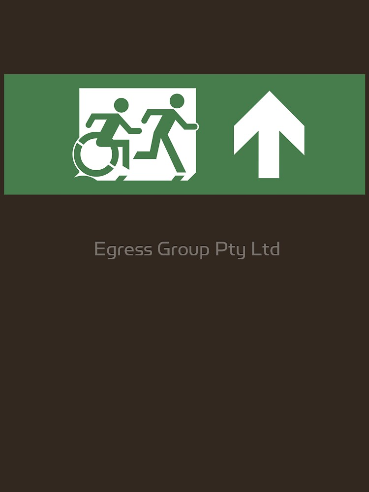 Accessible Means of Egress Icon and Running Man Emergency Exit Sign, Right Hand Up Arrow by LeeWilson