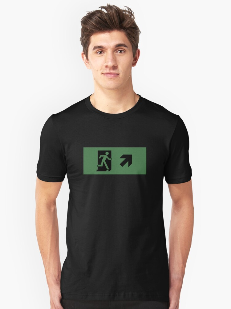 Running Man Emergency Exit Sign, Right Hand Diagonally Up Arrow Unisex T-Shirt Front