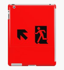 Running Man Emergency Exit Sign, Left Hand Diagonally Up Arrow iPad Case/Skin