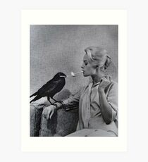 Tippi Hedren having her cigarette lit by a crow on the set of The Birds Art Print