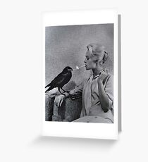 Tippi Hedren having her cigarette lit by a crow on the set of The Birds Greeting Card