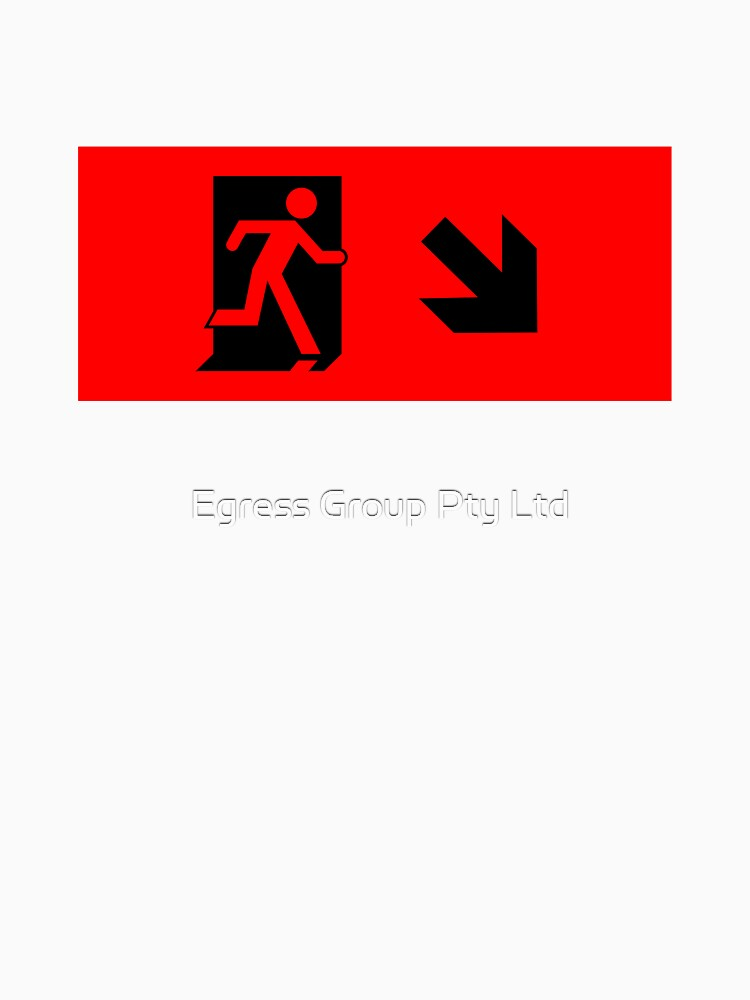 Running Man Emergency Exit Sign, Right Hand Diagonally Down Arrow by LeeWilson