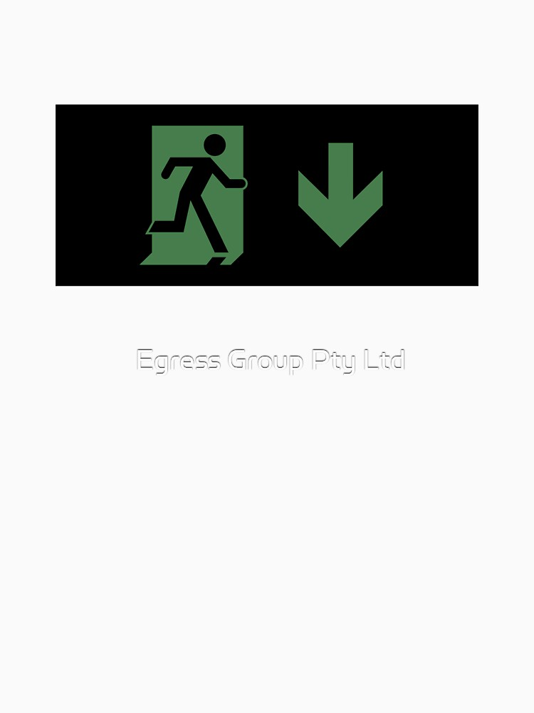 Running Man Emergency Exit Sign, Right Hand Down Arrow by LeeWilson