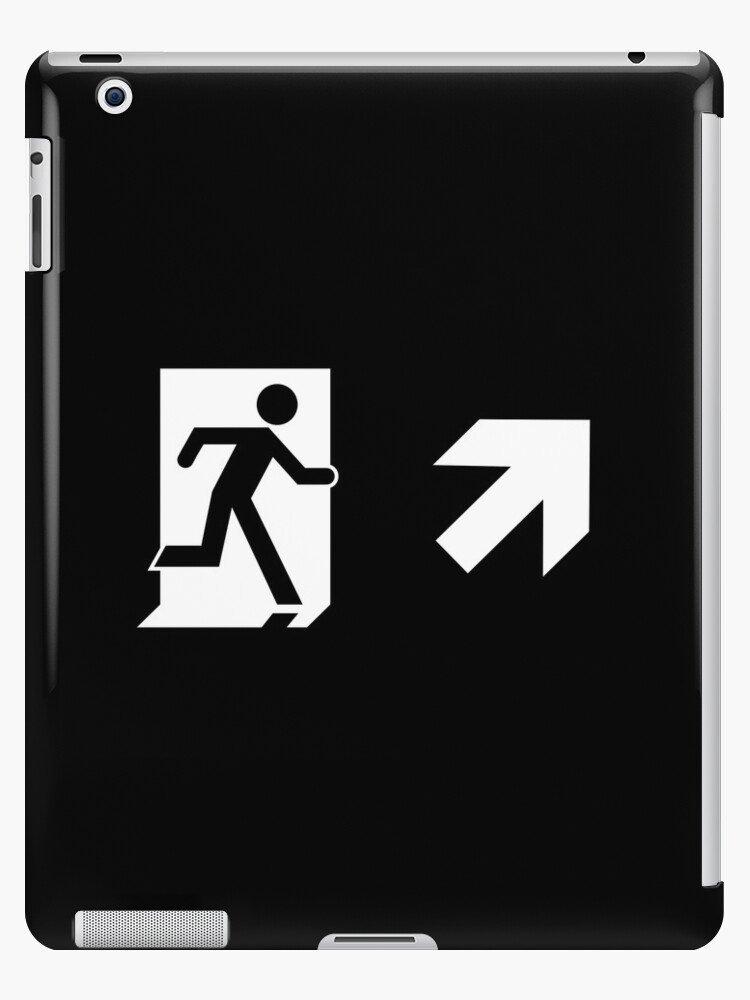 Running Man Emergency Exit Sign, Right Hand Diagonally Up Arrow by Egress Group Pty Ltd