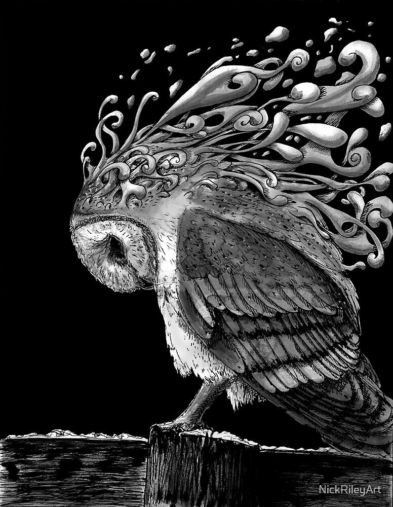 Owl in Black by NickRileyArt