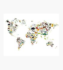 Cartoon animal world map on white background Photographic Print