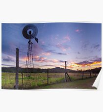 Sunsets and Windmills Poster