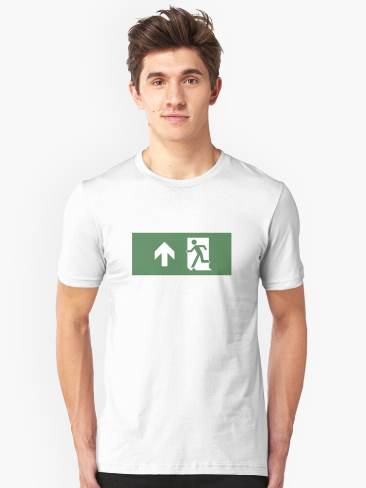 Running Man Emergency Exit Sign, Left Hand Up Arrow Unisex T-Shirt Front