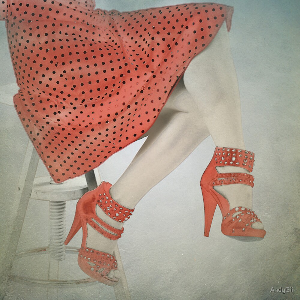 Red Dress on Stool by AndyGii