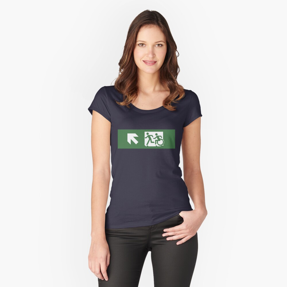 Accessible Means of Egress Icon and Running Man Emergency Exit Sign, Left Hand Diagonally Up Arrow Women's Fitted Scoop T-Shirt Front