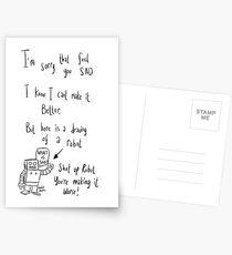 An unhelpful robot to cheer up a friend. Postcards