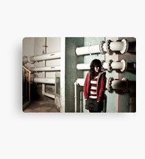 Asian woman in dark showing sorrow mood Canvas Print