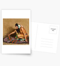 EANGER IRVING COUSE () Indian Examining a Blanket  Postcards