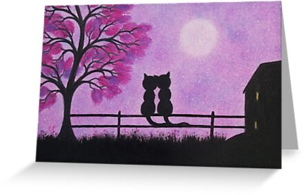 Romantic Cats, Cats and Moon, Cats Tree and House Silhouette by Claudine Peronne