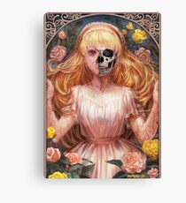 Little Zombie Girl in Garden Canvas Print