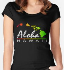 ALOHA - Hawaiian Islands (vintage distressed design) Women's Fitted Scoop T-Shirt