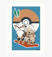 Pokemon Growlithe & Arcanine Art Print
