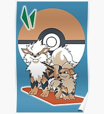 Pokemon Growlithe & Arcanine Poster