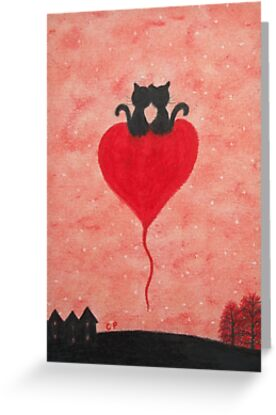 Love Cats on Heart: Romantic Cats on Heart Balloon by Claudine Peronne