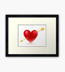 Vector illustration of Red heart shape Framed Print