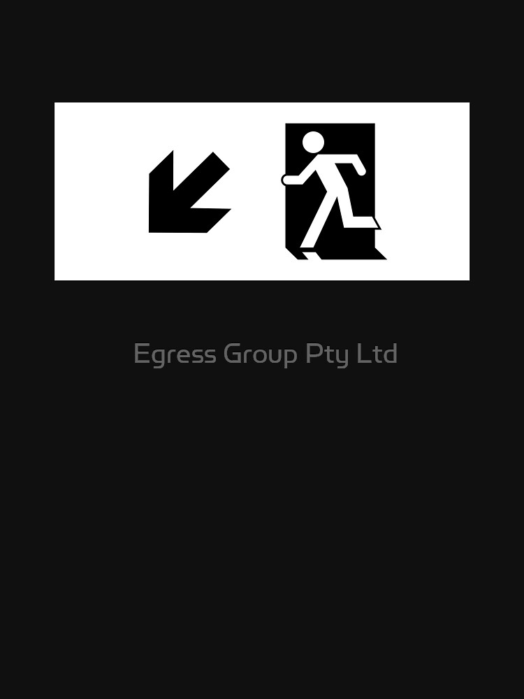 Running Man Emergency Exit Sign, Left Hand Diagonally Down Arrow by LeeWilson
