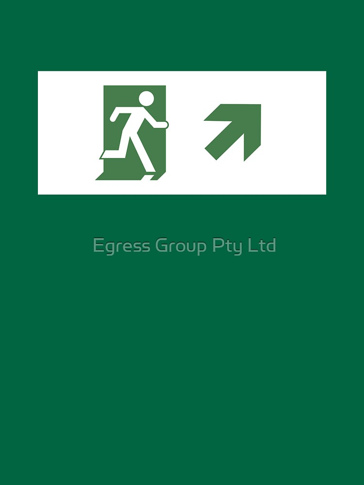 Running Man Emergency Exit Sign, Right Hand Diagonally Up Arrow by LeeWilson