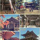 Nara Japan Horyu-ji Temple World Heritage Site Collage by Beverly Claire Kaiya
