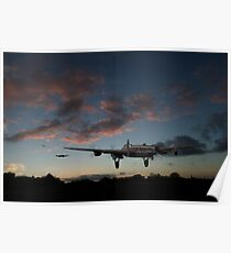 Lancasters taking off at sunset Poster