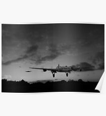 Lancasters taking off at sunset black and white version Poster