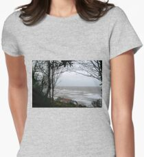 Strong Winds, Grey Sea at Lyme.Dorset UK Womens Fitted T-Shirt