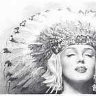 Marilyn Monroe in a headdress by Mike Theuer