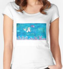Cat Over City Women's Fitted Scoop T-Shirt
